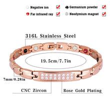 Hottime Zircon Gem Woman Bracelet Stainless Steel Health Energy Magnetic Rose Gold Fashion Jewelry Lady Bracelets Bangles 10249