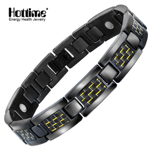 Hottime Healthy Energy Bracelet Jewelry For Men Black Stainless Steel Chain Link Magnet Therapy Bracelets Bangles 10252