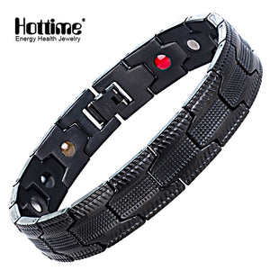Hottime  Magnetic Bracelet for Men Hand Chain Black Healing Energy Germanium Magnetic Therapy Stainless Steel Bracelet Bangle 10254