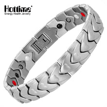 Hottime Healing Magnetic Bracelet Men/Woman 316L Stainless Steel 4 Health Care Elements(Magnet,FIR,Germanium,Negative Ion) Black Bracelet Bangle Hand Chain