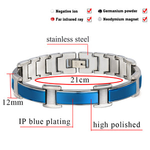 Hottime Black Magnetic Bracelet Men Punk Stainless Steel Men Bracelet Benefits Health Energy Chain Link Bangle Bracelet 10269