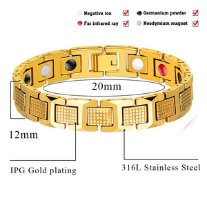 Hottime Fashion Gold Color Jewelry Healing FIR Magnetic Titanium Bio Energy Bracelet For Men Women Blood Pressure Accessory