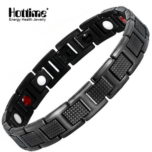 99650e479e41 Hottime Black Bracelet Men Hand Chain Energy Health Germanium Magnetic  Stainless Steel Holograms Bracelets For Women
