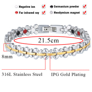 Hottime  Women Fashion Health Energy Magnetic Bracelets Bangles for Germanium Charm Butterfly Wristband Woman 10278