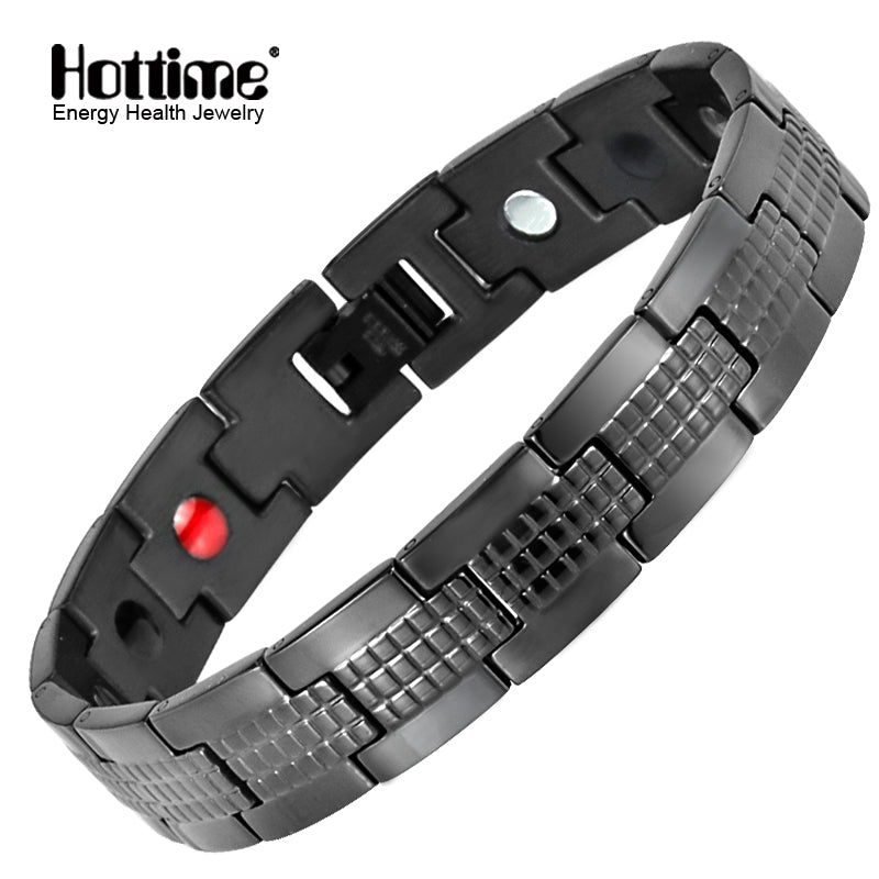 Hottime Black Magnetic Bracelet for Men Hand Chain Health Energy Germanium Satinless Steel Hologram Bracelets Bangles 10280