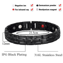 Hottime Negative ions Magnetic Therapy Bracelets & Bangles Hologram Bio Energy Bracelets Wristband for Men 10284