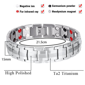 Hottime Fashion Jewelry Healing FIR Magnetic Titanium Steel Energy Bracelet For Men Blood Pressure Accessory Silver Bracelet