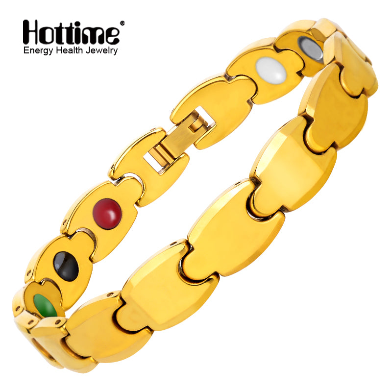 Hottime Jewelry Energy Gold Color Bio Magnetic Tungsten Infrared Germanium Tourmaline Negative Ion For Women Bracelet Bangle 10305