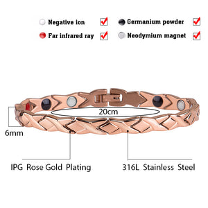 Hottime  stainless steel Letter shape power energy health bracelet 4 in 1 magnetic germanium healthy bracelet for women 10306