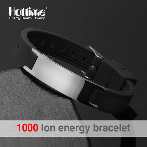 Hottime Multicolor Street Basketball Sports Silicone Health Bracelet Men Bio Magnetic Power Energy Negative Ion Balance Bangles