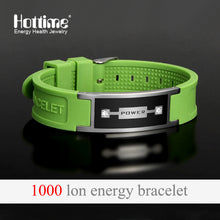Hottime Multicolor Men's Health Silicone Bracelets Bangles Magnetic Power Energy Stainless Steel Charm Bracelet Jewelry
