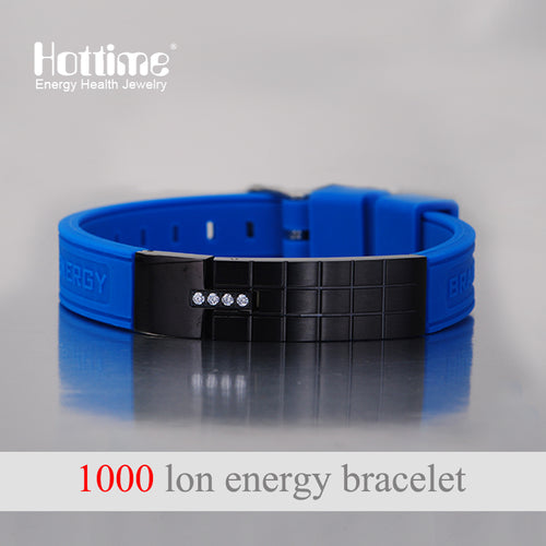 Hottime Personality Wristbands Men's Power Magnetic Bracelets & Bangles 316L Stainless Steel Silicone Balance Bracelets 20014