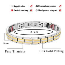Hottime Women's Pure Titanium Health Magnetic Bracelets&Bangles Germanium Benefit Healthy 4 Elements Pulseras Hombre 10292
