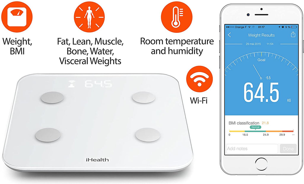 The iHealth CORE HS6 Wireless Body Analysis Scale can measure Weight, BMI, Fat, Muscle Mass, Bone Mass and more