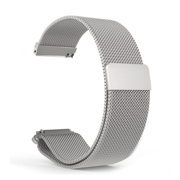 Silver Silicon 22mm Stainless Steel Magnetic Milanese Loop Watch Band for Samsung Galaxy Watch (46mm) or Garmin Vivoactive 4