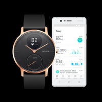 Use the Health Mate App with a Withings / Nokia HR Steel Hybrid Rose Gold / Black Fitness Tracker - FitTrack (Fitness Watches Australia)