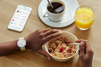 Eating with a Withings / Nokia HR Steel White Fitness Tracker - FitTrack (Fitness Trackers Australia)