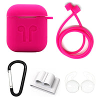 Hot Pink Edition Apple AirPods 5-Piece Silicon Accessory Kit - FitTrack Australia