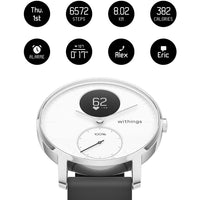 Withings HR Steel Hybrid White Fitness Tracker - Digital Settings - FitTrack Australia