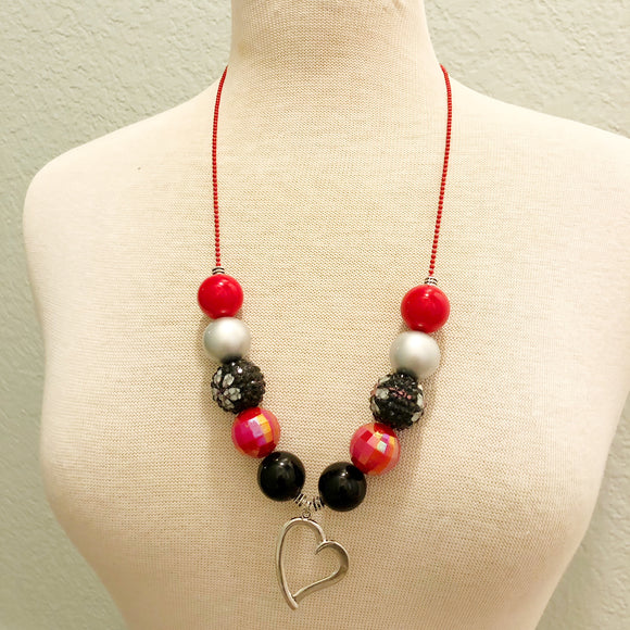 Ball and Chain Necklace - Red and Black Heart