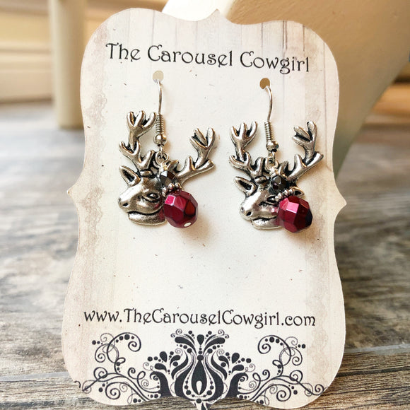 Buffalo Plaid Inspired Deer Earrings