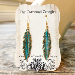 Gorgeous Patina Feather Earrings