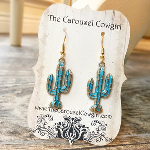 Patina Cactus Earrings