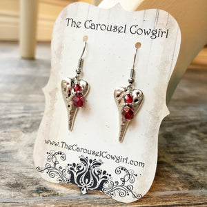 Hammered Heart Earrings with Red Accents