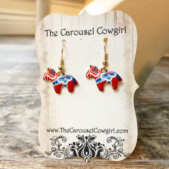 Red and Blue Holland Horse Earrings