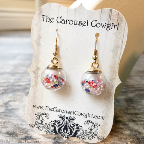 Colorful Crystals Glass Ball Earrings
