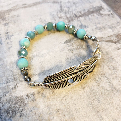 Turquoise and Silver Feather Bracelet