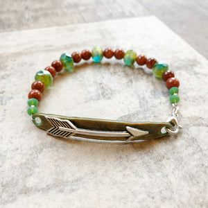 Follow Your Arrow Bracelet - Green and Goldstone