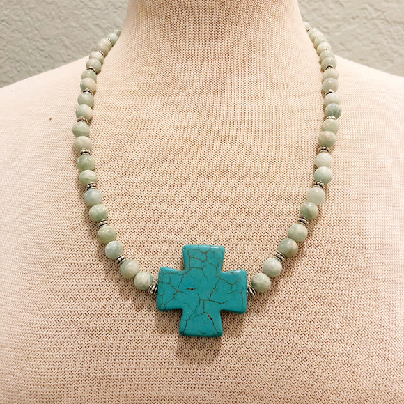 Stone Cross with Agate Beads Necklace