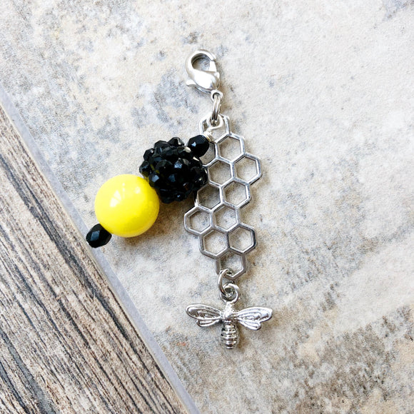 Bee Honeycomb Small Planner Charm / Dog Collar Charm