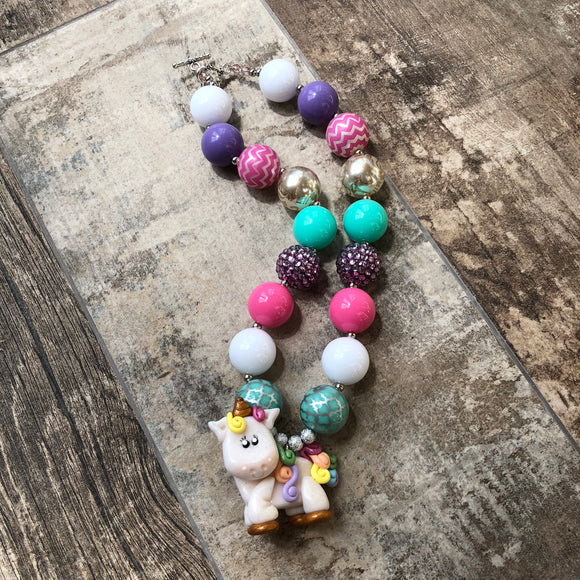 Clay Unicorn Chunky Bubblegum Necklace