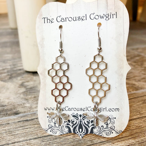Honeycomb and Bee Earrings