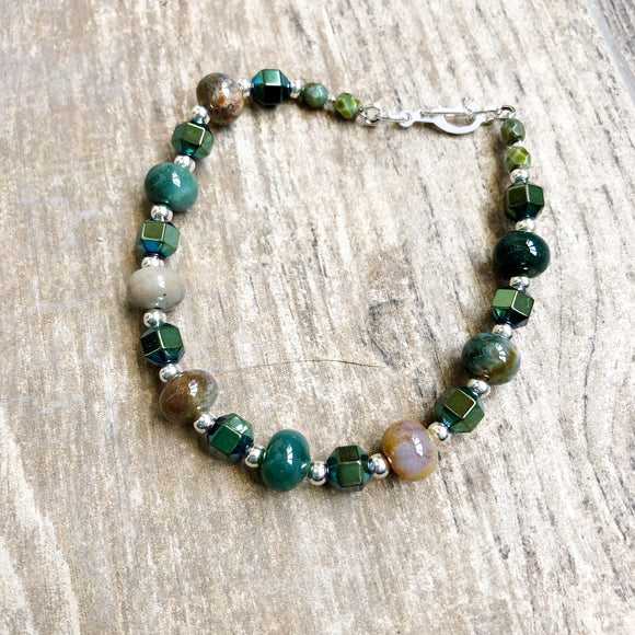Hematite and Green Agate Bracelet