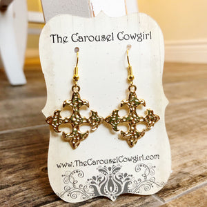 Hammered Gold-tone Cross Earrings