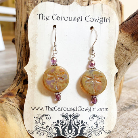 Dragonfly Earrings - Etched Czech Glass