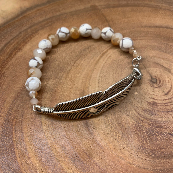 Cream Agate and Silver Feather Bracelet