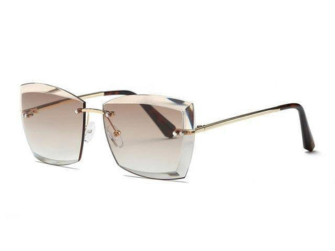 Image of Women Square Rimless Diamond Sunglasses