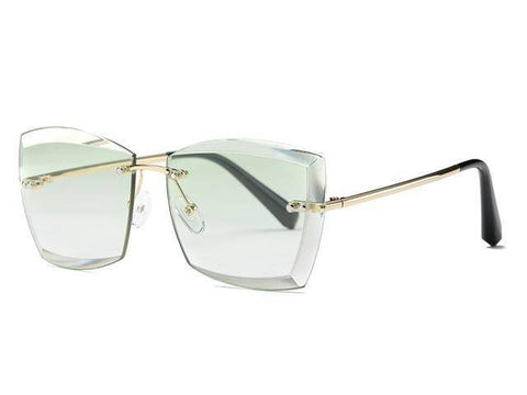 Women Square Rimless Diamond Sunglasses