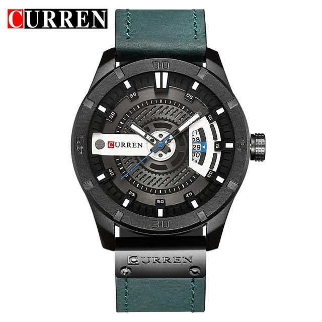 Men Military Leather Watch