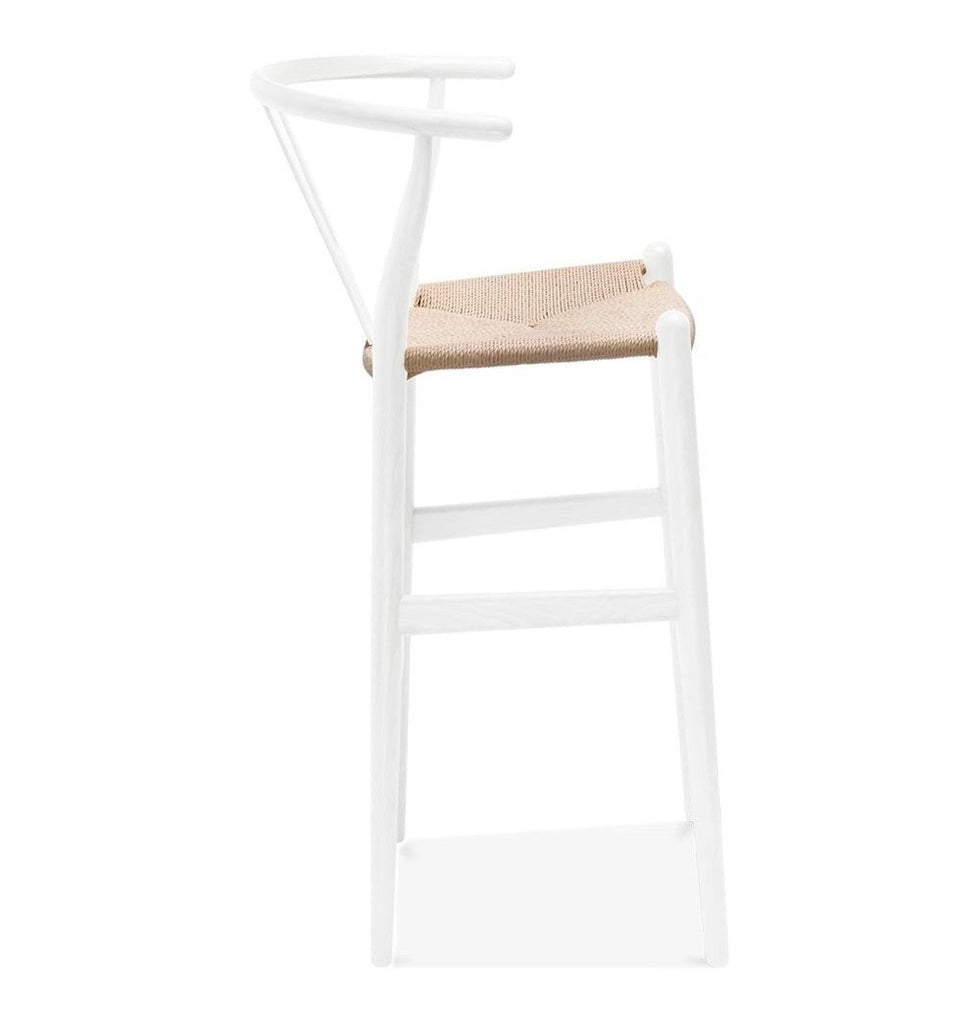 Wishbone CH20 Y Chair Bar Stool   White & Natural Paper Cord ...