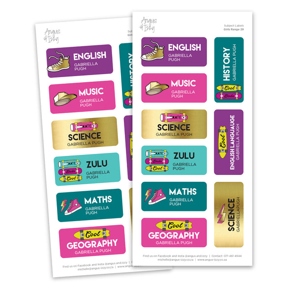Subject Labels - Girly Range 29