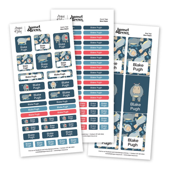 H&G Blue Hippo Sticker Bundle H&G Bundles Angus & Izzy