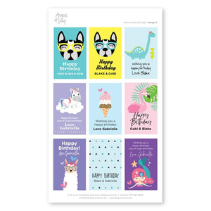 Pre-selected Gift Tag Stickers Bundle 11 Gift Tag Bundles Angus & Izzy