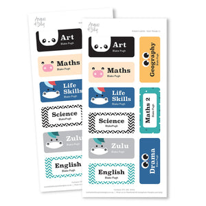 Subject Labels - Boys' Range 11 Subject Labels Angus & Izzy
