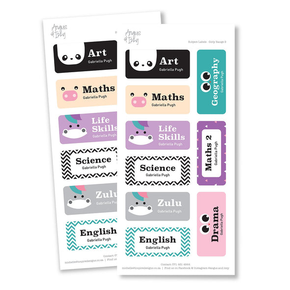 Subject Labels - Girly Range 09 Subject Labels Angus & Izzy