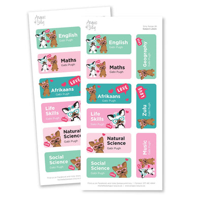 Subject Labels - Girly Range 28 Subject Labels Angus & Izzy